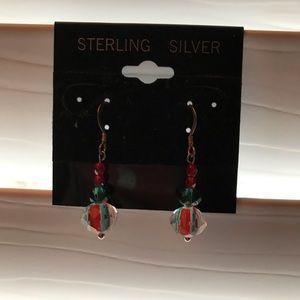Sterling Silver Glass Bead Earrings
